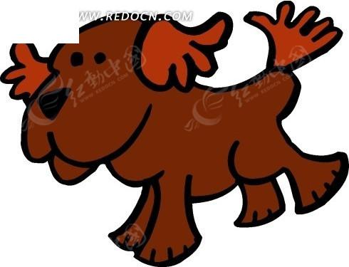 手绘一只暗红色的小狗其他免费下载_陆地动物素材