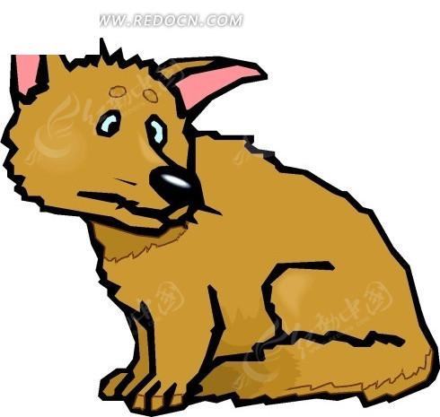 手绘蹲在地上侧着脑袋的小狗图片