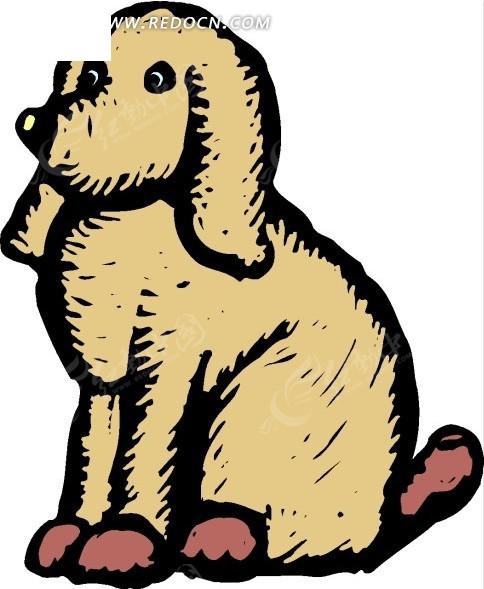 免费素材 矢量素材 生物世界 陆地动物 手绘蹲在地上的土黄色小狗  请