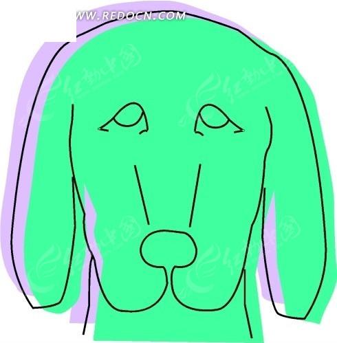 手绘绿色小狗头像