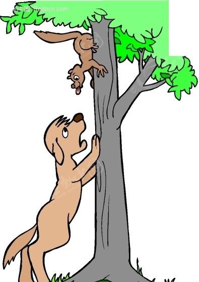 手绘爪子搭在树上看松鼠的小狗