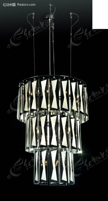 欧式简易线帘三层水晶吊灯