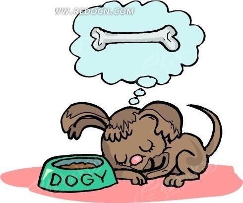 通画趴着睡觉想骨头的狗狗其他免费下载 陆地动物素材 编号1693639