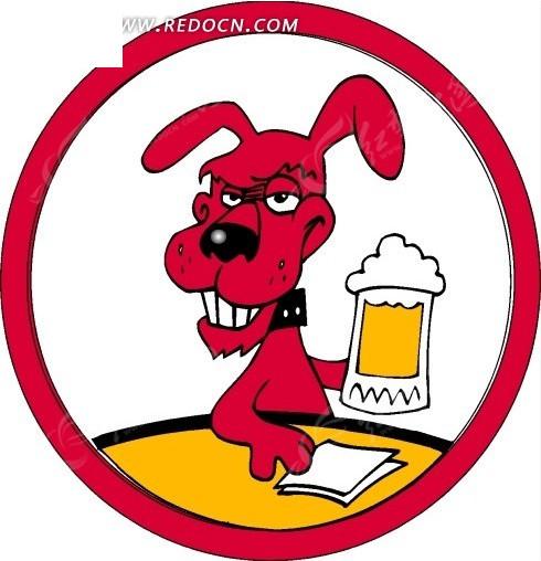 卡通画喝啤酒的红色小狗