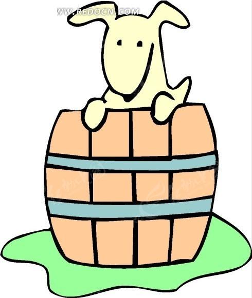 儿童手绘站在木桶里的小狗矢量图_陆地动物