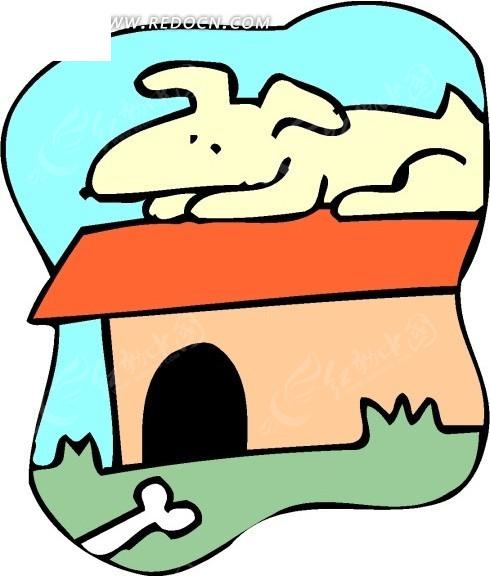 儿童手绘趴在狗屋顶上睡觉的小狗