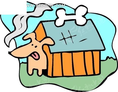 儿童手绘被骨头引出狗屋的小狗