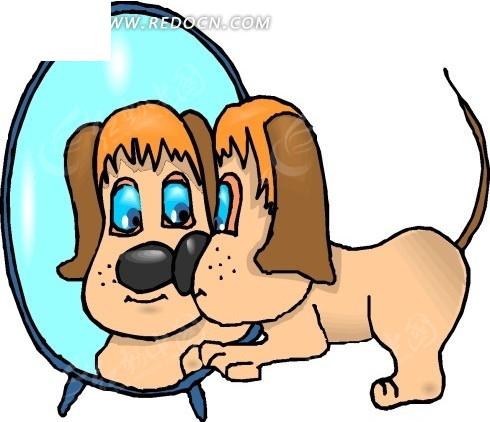 手绘照镜子的小狗狗