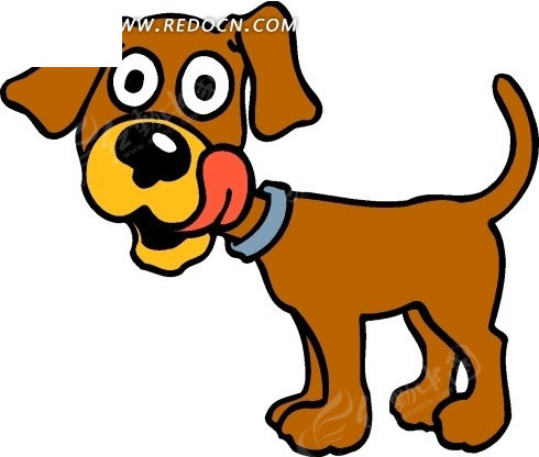 儿童手绘舔嘴的小狗图片