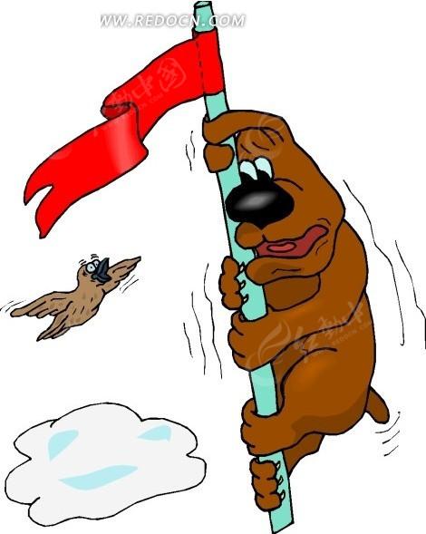 儿童手绘旗杆上瑟瑟发抖的小狗