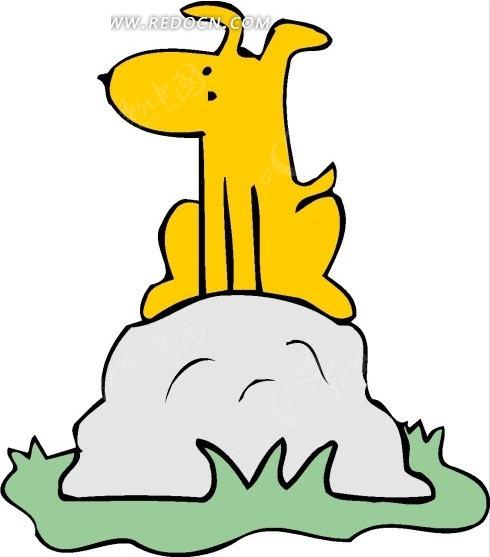 儿童画蹲在石头上的小狗矢量图