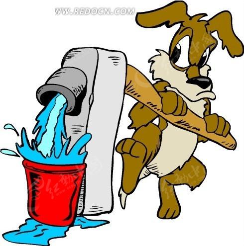 狗 水泵 小狗 卡通动物 卡通画 插画 手绘 矢量素材 动物图片 卡通
