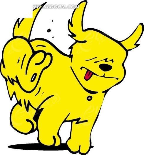 手绘挠痒的黄色小狗图片