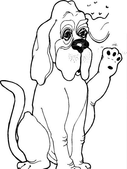 手绘蹲着驱赶文字的小狗图片
