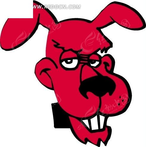 手绘红色狗头矢量素材其他免费下载_陆地动物