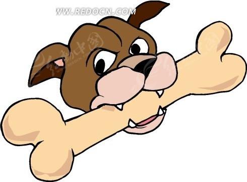 手绘咬着大骨头的小狗