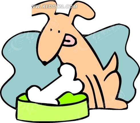 手绘看着盆子里的骨头的小狗其他素材免费下载 编号1694315 红动网