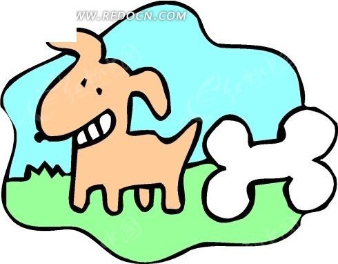 手绘小狗和骨头图片