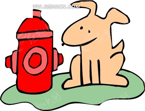 手绘蹲在消防栓边上的小狗