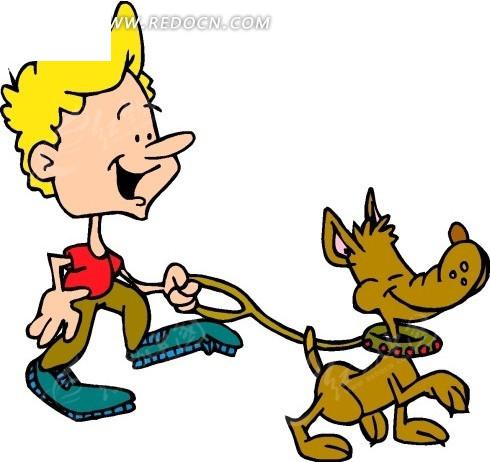 牵着小狗的小孩矢量图_陆地动物