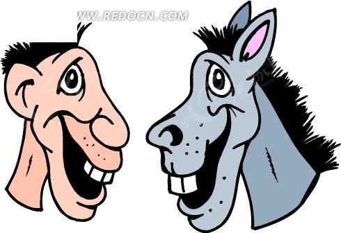 卡通画驴脸和人脸对比