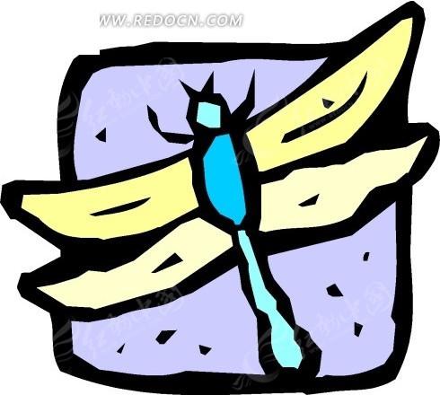手绘蜻蜓图案矢量素材