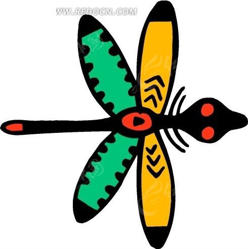 儿童手绘彩色翅膀的蜻蜓