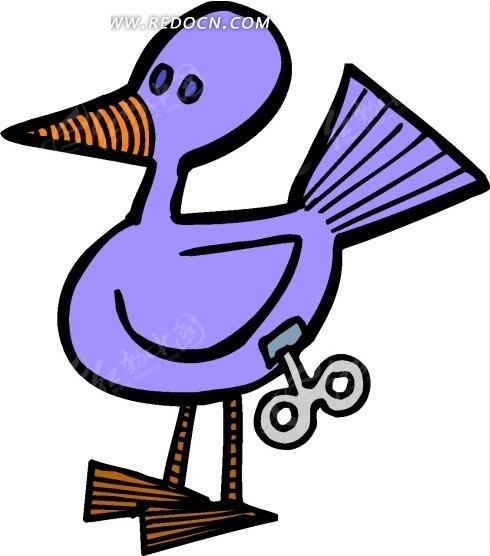 免费素材 矢量素材 生物世界 陆地动物 手绘蓝色的机械鸭子  请您分享