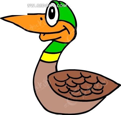 儿童手绘一只野鸭子