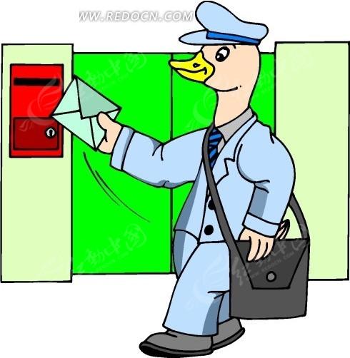 卡通画鸭子邮递员