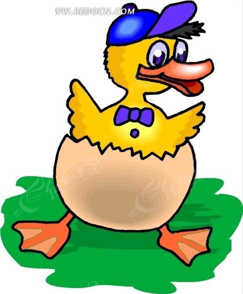 儿童手绘蛋壳里的小鸭子