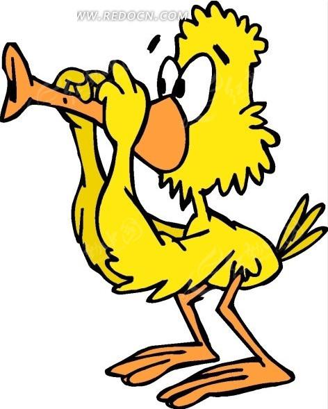 卡通画吹笛子的黄色鸭子