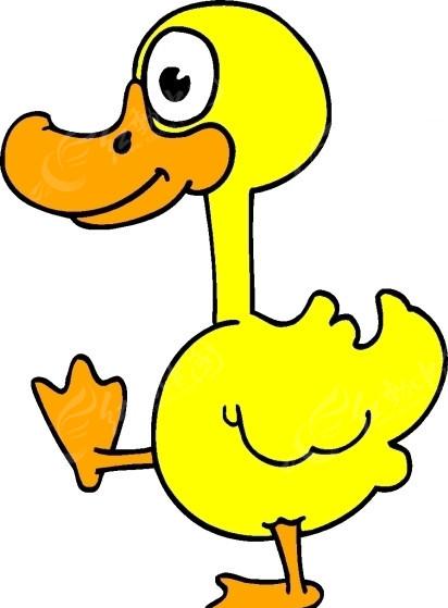儿童绘画一只可爱的黄色小鸭子矢量图