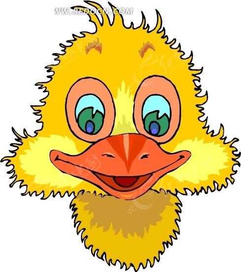手绘可爱的黄色鸭子头像矢量素材