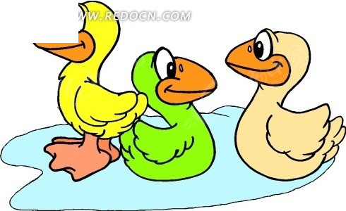 手绘几只可爱的小鸭子