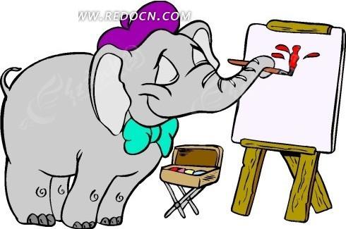卡通画用鼻子拿着画笔画画的小象