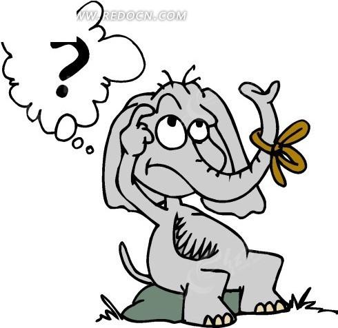 卡通画坐在石头上想问题的小象