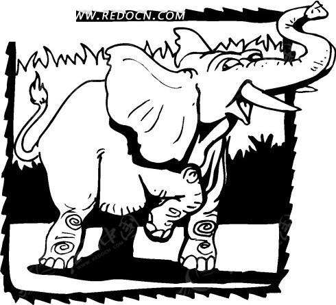 大象 卡通动物 卡通画 插画 手绘 矢量素材 动物图片 卡通形象 免费