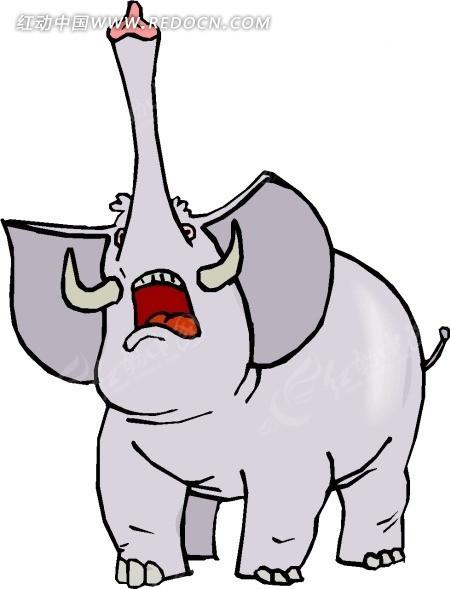 手绘鼻子朝天叫唤的大象