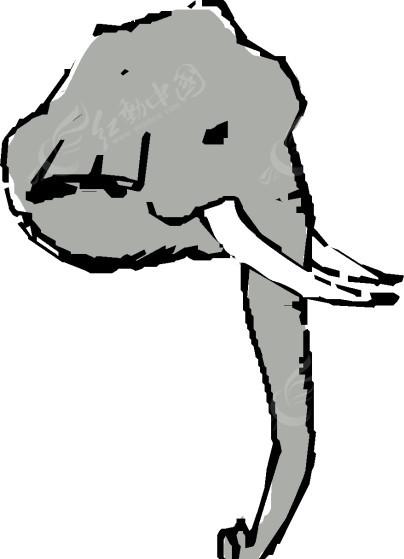 手绘灰色大象头像矢量素材