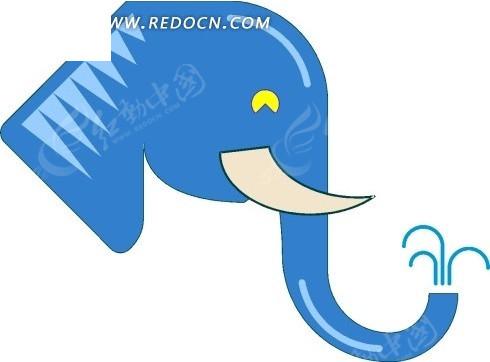 手绘鼻子喷水的蓝色大象头像