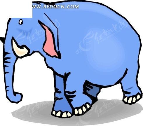 儿童手绘蓝色的小象