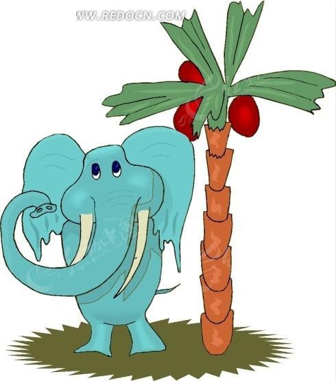 手绘椰子树下的大象