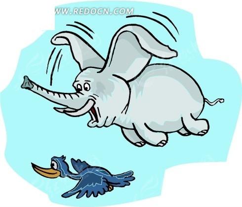 手绘飞起来的大象和小鸟