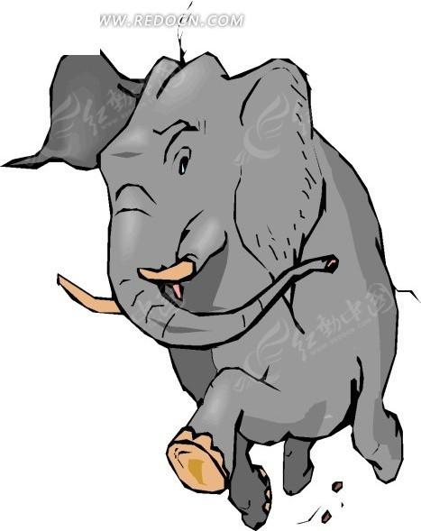 手绘插画奔跑的大象