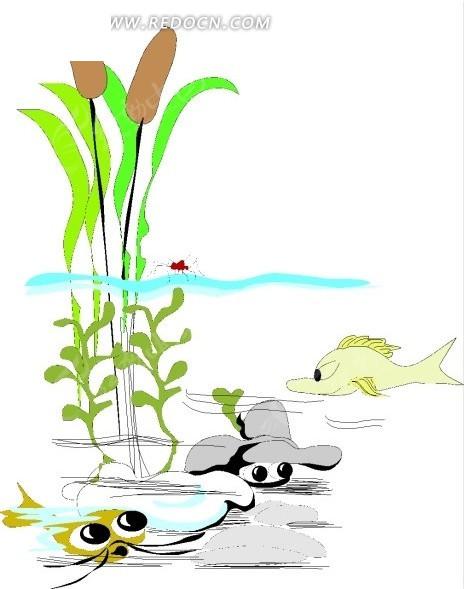 手绘插画水下的鱼儿