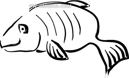 儿童手绘线描鱼图案矢量素材矢量图
