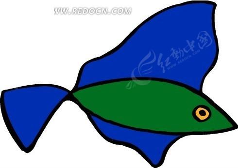 儿童手绘绿色身子蓝色鳍的鱼