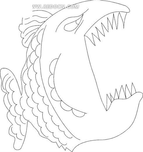 手绘线描画张着嘴巴的鱼