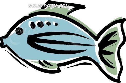 手绘插画-蓝色小鱼